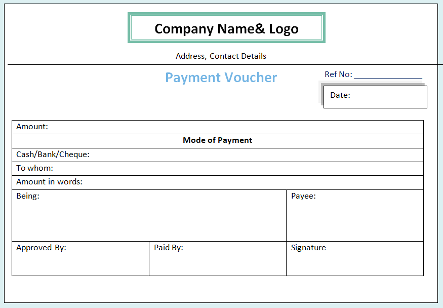 Payment Voucher Format in Word | Cash | Bank | Advance